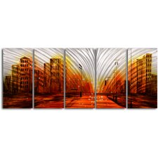 """Lights From The Stadium"" 5 Piece Contemporary Handmade Metal Wall Art Set"
