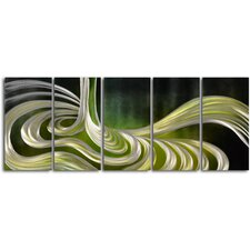 """Liquid Sage"" 5 Piece Contemporary Handmade Metal Wall Art Set"