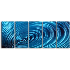 """Ripple Effect"" 5 Piece Contemporary Handmade Metal Wall Art Set"