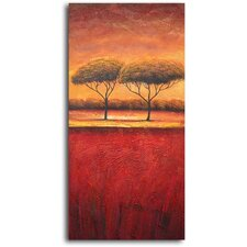 "Hand Painted ""Slice of African Treescape"" Oil Canvas Art"