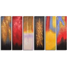 "Hand Painted ""Shades of Fire "" 6 Piece Oil Canvas Art Set"