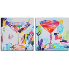 2 Piece ''Confetti Cocktails'' Hand Painted Canvas Set
