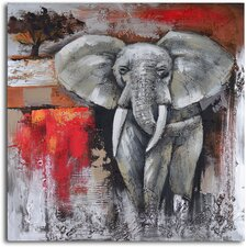 ''Elephant Encounter'' Hand Painted Canvas Art