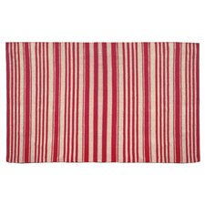 Chenille Red Striped Rug