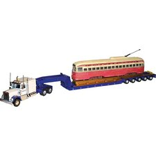 Corgi Tyler and Sons Truck with Kenworth W925 Hauling PCC Streetcar on 5-Axle Lowboy