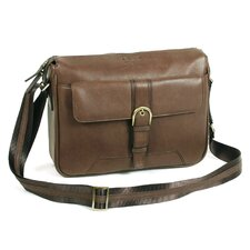 Top Zipper Shoulder Bag with Front Pocket in Brown