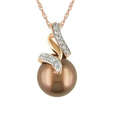 Pink Gold Round Shaped Chocolate Pearl Fashion Pendant