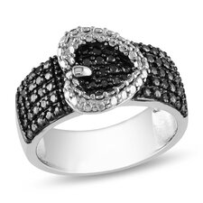 Sterling Silver Round Cut Diamond Band Ring