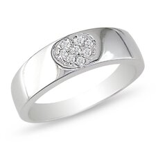 14K White Gold Round Cut Diamond Band