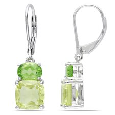 Cushion Cut Gemstone Drop Earrings