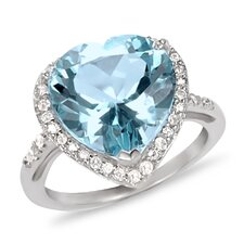 Sterling Silver Round Cut Topaz Ring