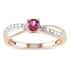 Pink Silver Round Cut Tourmaline Ring