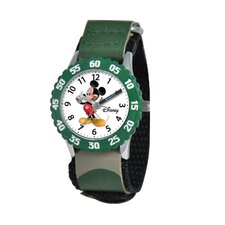 Kid's Mickey Mouse Time Teacher Watch in Green