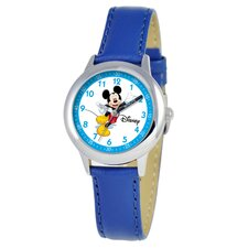 Kid's Mickey Mouse Time Teacher Watch in Blue Leather