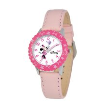 Kid's Minnie Mouse Time Teacher Watch in Pink Leather with Pink Bezel