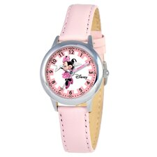 Kid's Minnie Mouse Time Teacher Watch in Pink Leather