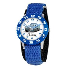 Cats123Kid's Cars Time Teacher Velcro Watch in Blue with Blue Bezel