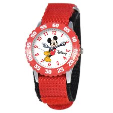 Kid's Mickey Stainless Steel Time Teacher Watch in Red