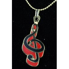 G Clef Necklace in Gold and Red