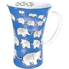 Animals Chain of Elephants Mega Mug in Blue (Set of 4)