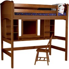 Cooley Twin Loft Bed with Bookshelves and Desk