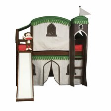 Mission Twin Low Loft Bed with Built-In Ladder and Tent