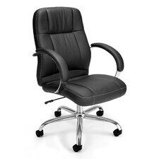 Mid-Back Leatherette Executive Conference Chair with Arms