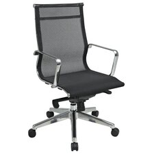 Deluxe Mesh Back and Seat Mid-Back Office Chair with Polished Aluminum Arms and Base