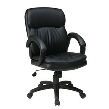 Mid-Back Eco Leather Executive Office Chair with Padded Arms