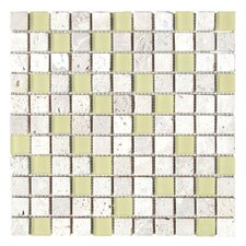 "Travertine Glass 12"" x 12"" Mosaic in Gray Screen"