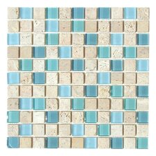 "Travertine Glass 12"" x 12"" Mosaic in Cool Blues"
