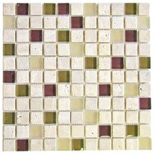 "Travertine Glass 12"" x 12"" Mosaic in River Rouge"