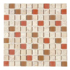 "Travertine Glass 12"" x 12"" Mosaic in Sweet Corals"