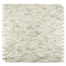 "Contours 12"" x 12"" Classical Random Brick Split-Face Mosaic in White Statuary"
