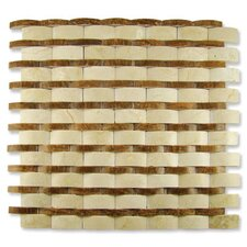 "Contours 12"" x 12"" Rome Interlocking Wave Split-Face Mosaic in Crema Marfil/Timber"