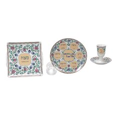 Flower Themed Porcelain Seder Set