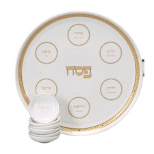 Traditional Porcelain Seder Plate in Gold