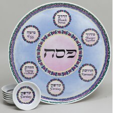 Porcelain Seder Plate in Blue and Pink