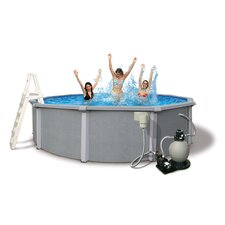 "Zanzibar Round 54"" Deep 8-in Top Rail Pool Package"
