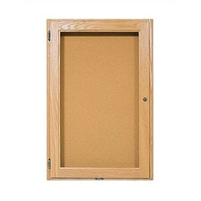Double Pedestal Enclosed Bulletin Boards - Oak Frame