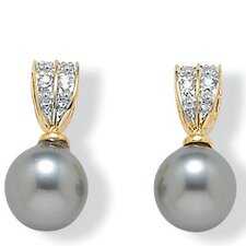 Gold Plated Simulated Grey Pearl Earrings