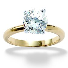 Gold Plated Tutone Cubic Zirconia Engagement Ring
