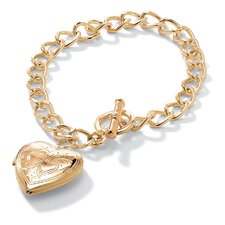 Gold Plated Locket Charm Bracelet