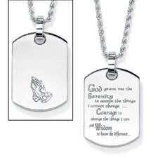 "Stainless Steel ""Serenity Prayer"" Dog Tag Pendant"
