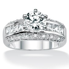 Platinum/Silver Round and Princess-Cut Cubic Zirconia Ring