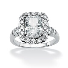 Sterling Silver Octagon-Shaped Cubic Zirconia Ring