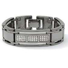 Black Ruthenium Men's Cubic Zirconia Bar-Link Bracelet