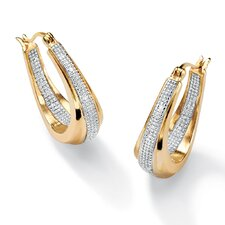 14k Gold Plated Oval Diamond Accent Pierced Earrings