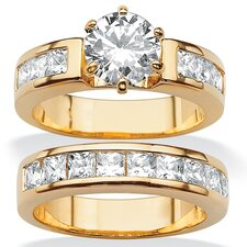 Gold Plated Round and Princess-Cut Cubic Zirconia Ring Set