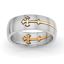 Stainless Steel Tutone Cross Wedding Band